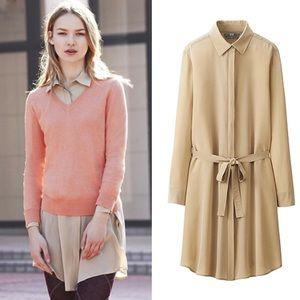 UNIQLO 💯 Silk Multi-Wear Shirt Dress Size L *EUC*